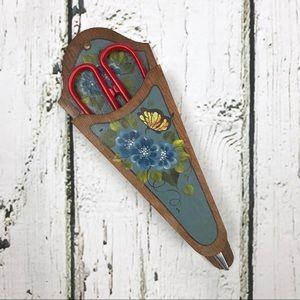Vintage Hand Painted Wooden Scissor Holder Floral